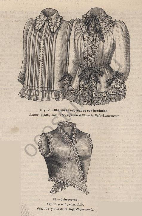 138b2a9c8ca Женские блузки с декоративной вышивкой. Испанская мода 1893 год.