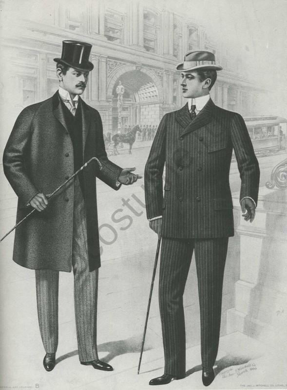 Мужской костюм и верхняя одежда.  Америка, 1900 год.