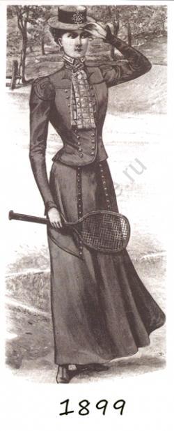 b5957017437 Женское платье для тенниса и отдыха на природе. 1899 год